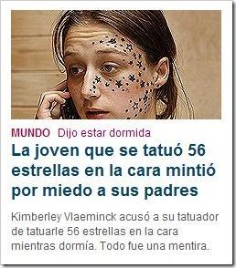 La joven que se tatuó 56 estrellas en la cara mintió por miedo a sus padres