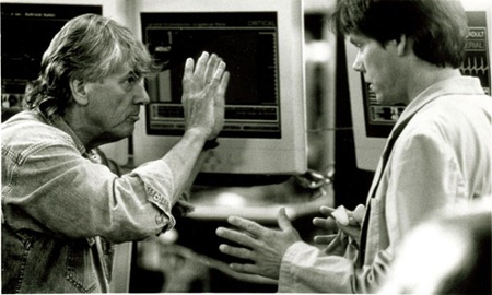 Hollow Man -Paul Verhoeven y Kevin Bacon en el set